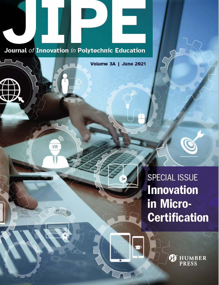 Hands on a laptop; cover page for JIPE's special issue on innovation in micro certification